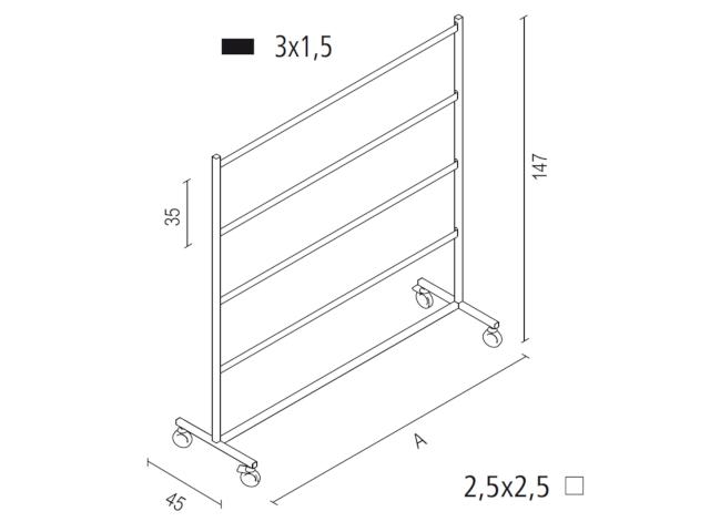 Kleiderbügelständer Art. ST14550 - Abmessungen